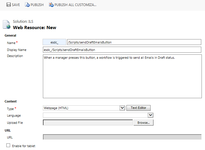 Make a Custom Button Web Resource (HTML/JavaScript) in Microsoft